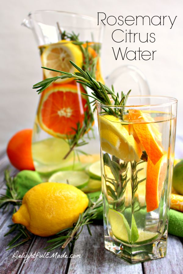 Try this Rosemary Citrus Water and 8 other fruit water infused recipes--these fruit water recipes will help to keep you hydrated this summer!