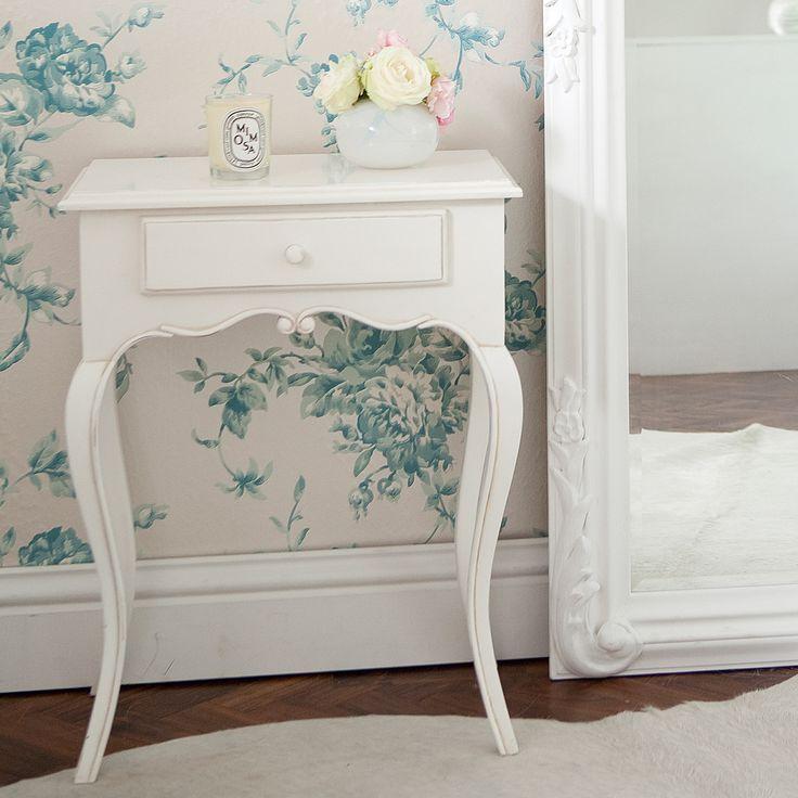 Provencal White Bedside Table