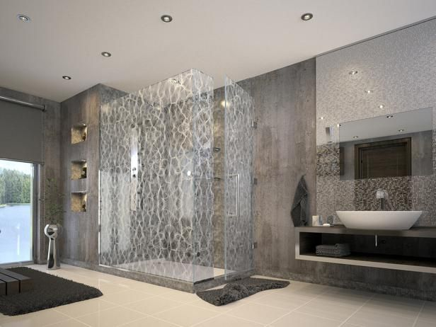 Robert A. M. Stern Designs installed this Bendheim etched glass shower enclosure.