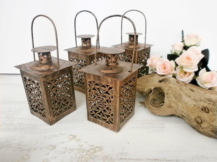 Set Of 4 Vintage Moroccan Lantern Brass Lace Effect Wedding Metal Candle Holder Beach Wedding Lantern