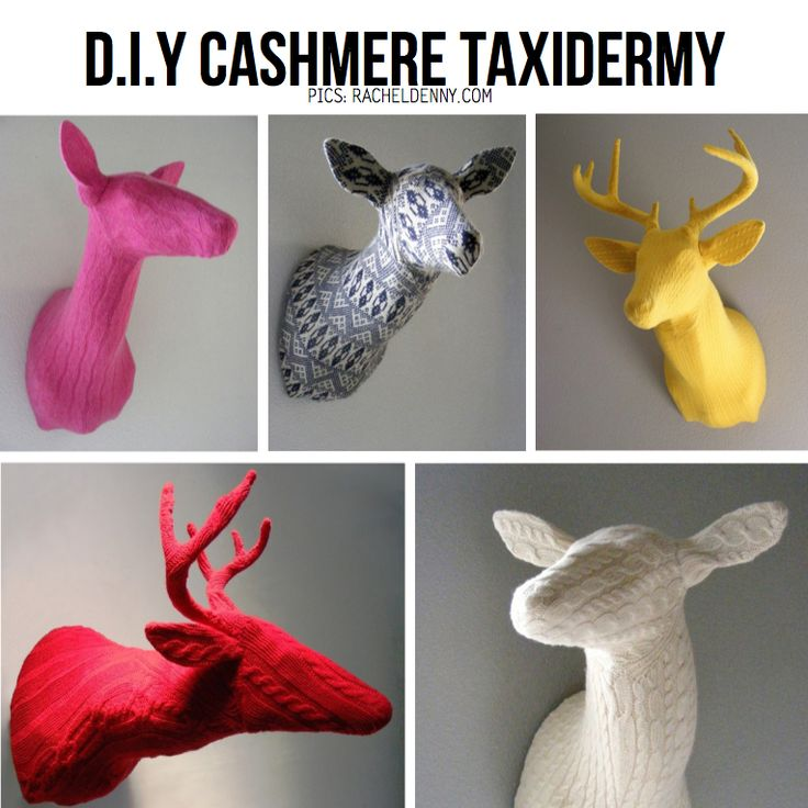 I love 3-dmensional art pieces and the mod take on faux taxidermy makes me giggle. Here are tutorials for making your own creatures out of upcycled sweaters, papier mache, legos, felt and more. DIY Home Accents http://www.pinterest.com/wineinajug/diy-home-accents/