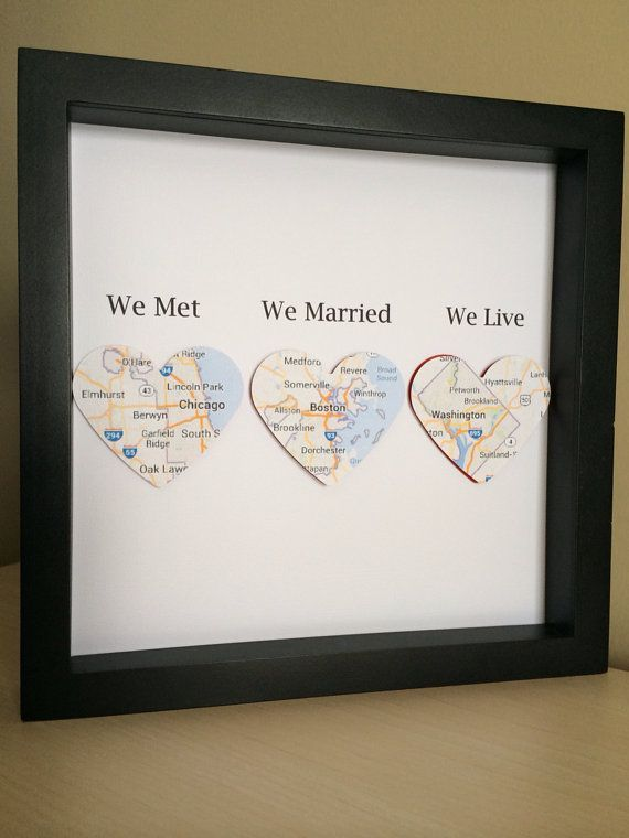 Map hearts in shadow box frame, Personalized Engagement, Anniversary or Wedding Gift, Personalized Paper Art- We Met, We Married, We Live