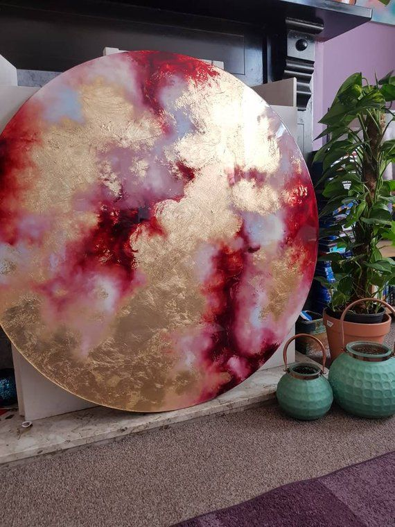 Oil painting, abstract art, resin art, gold leaf, expressionism, circle art, home decor, original art, Natalie Muir, fluid art