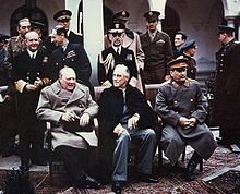 """The """"Big Three"""" Allied leaders (left to right) at Yalta in February, 1945: Winston Churchill, Roosevelt and Joseph Stalin."""