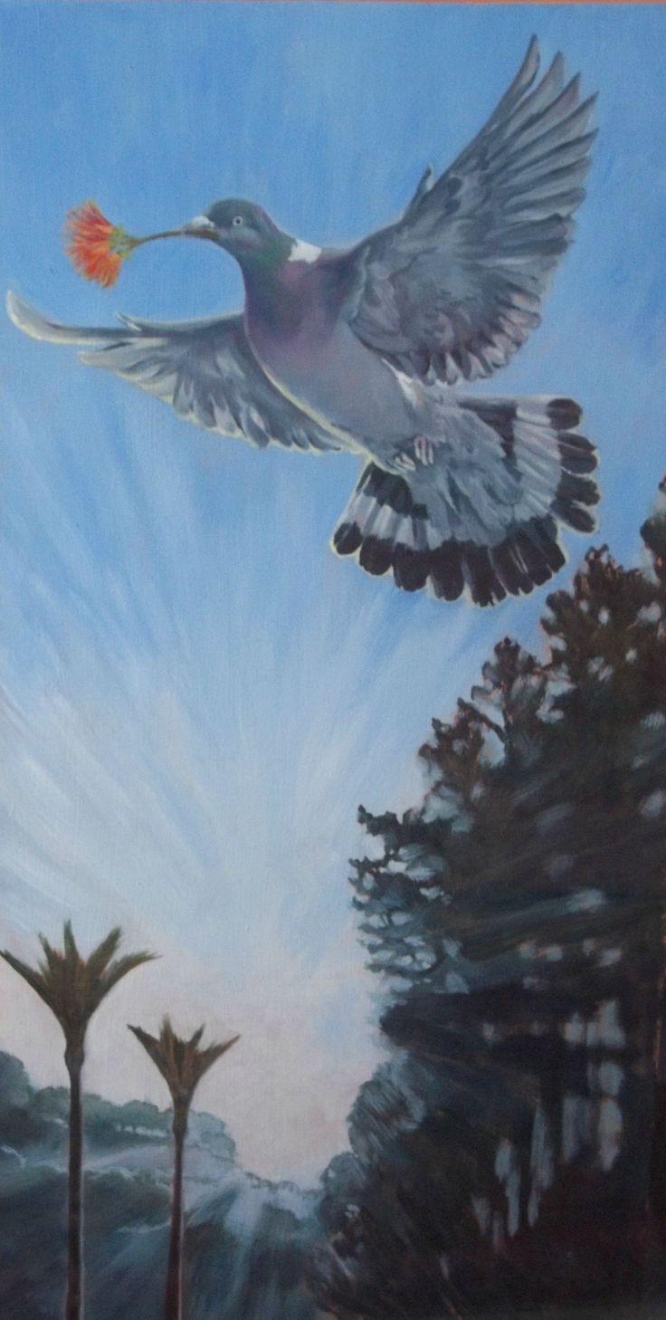 Peace, Native Kereru with Pohutakawa flower Acrylic on canvas