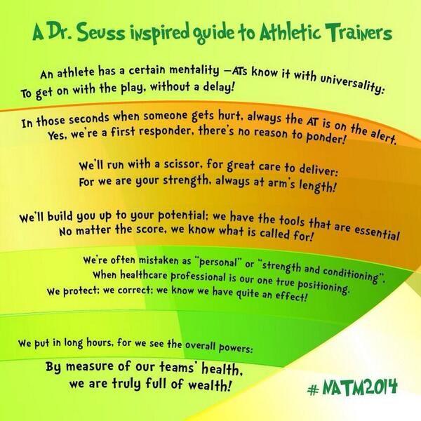 National Athletic Training Month 2014, #NATM2014, Dr. Seuss inspired, Athletic Trainers, athletic training