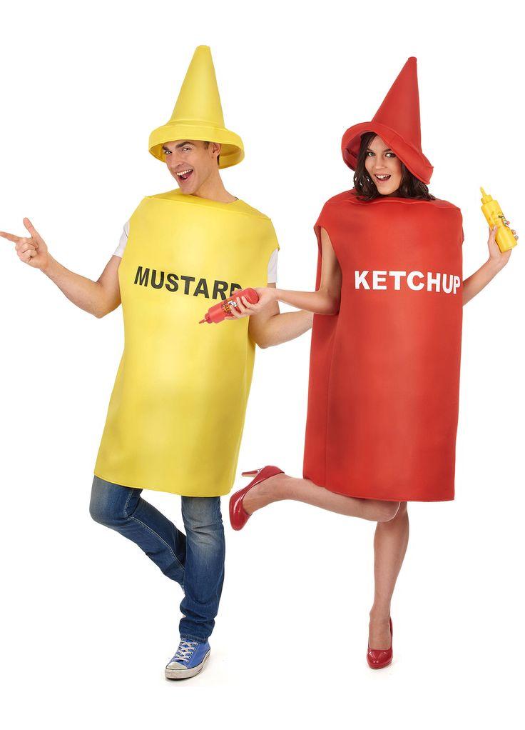 Déguisement de couple moutarde et ketchup  : Ce déguisement de couple humoristique se compose d'un costume de moutarde et d'un costume de ketchup.- Déguisement pot de moutarde adulteCe déguisement de pot...