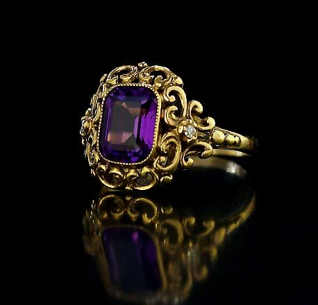 Siberian amethyst and diamonds in a 14K gold setting. Circa 1904-1908Filigree Rings, Style Rings, Amethysts Rings, Russian Jewelry, Gold Rings, Style Jewelry, Antiques Rings, Vintage Style, Hair Combs