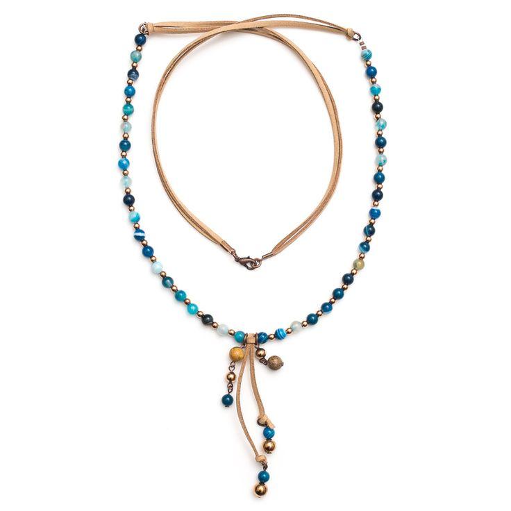 xada jewellery - Boho Santorini blue agate necklace on suede, $67.95 (http://www.xadajewellery.com/shop-by-collection/boho-santorini-blue-agate-necklace-on-suede/)