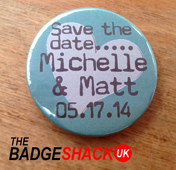 Personalised Save the Date Magnets 3.8cm 50X by TheBadgeShackUK, £29.00