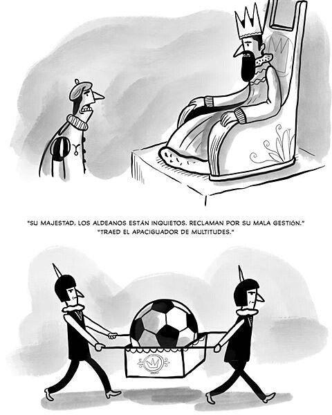 """Fútbol, el opio del pueblo. """"Por © @albertomontt  #pelaeldiente  #feliz #comic #caricatura #viñeta #graphicdesign #funny #art…"""""""