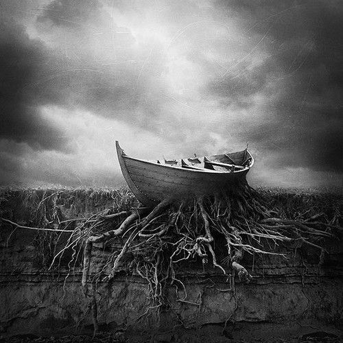 Rooted, roots, boat, båd, cloud, panorama, fantasy, black and white, silence, peace, misty