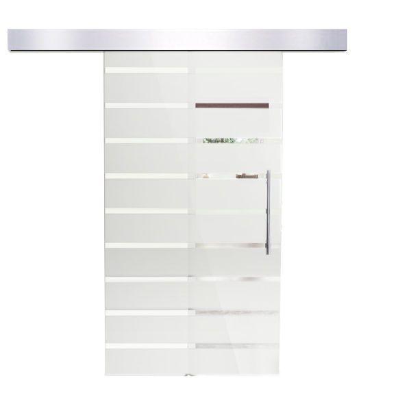 Sliding Luxurious Glass Door Interior Internal Aluminium Stripes 205x90 cm New