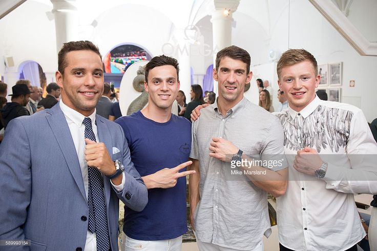 James Guy, Chad le Clos, Michael Phelps and Adam Peaty pictured at Swimming…
