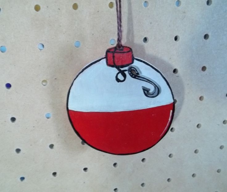 Fishing Bobber Ornament Handmade & Hand Painted by KnottyCrafters on Etsy