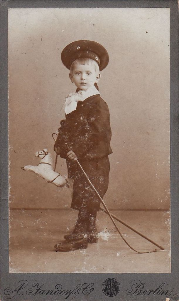 Little boy with stick horse