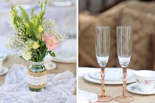 Pobre casamento do quintal chique stringlights Florida suspensórios azul rústica do vintage florais tronco sofá