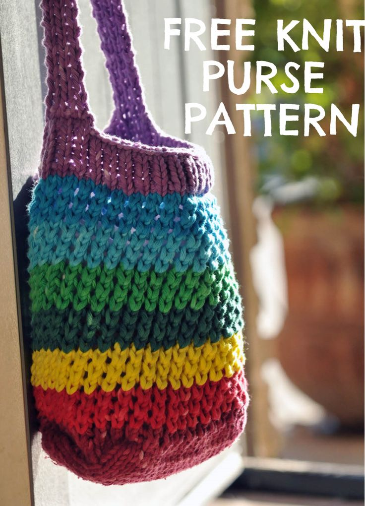 Knitting Bag Pattern Pinterest : Learn how to knit a rainbow cross-body bag! Knit Purse Patterns FREE knit...
