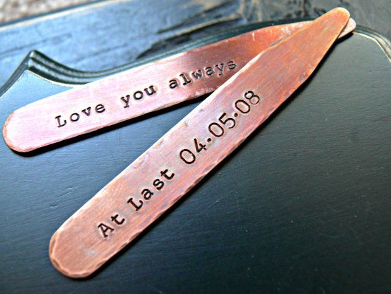 Mens Personalized Copper Collar Stays  by yourcharmedlife on Etsy
