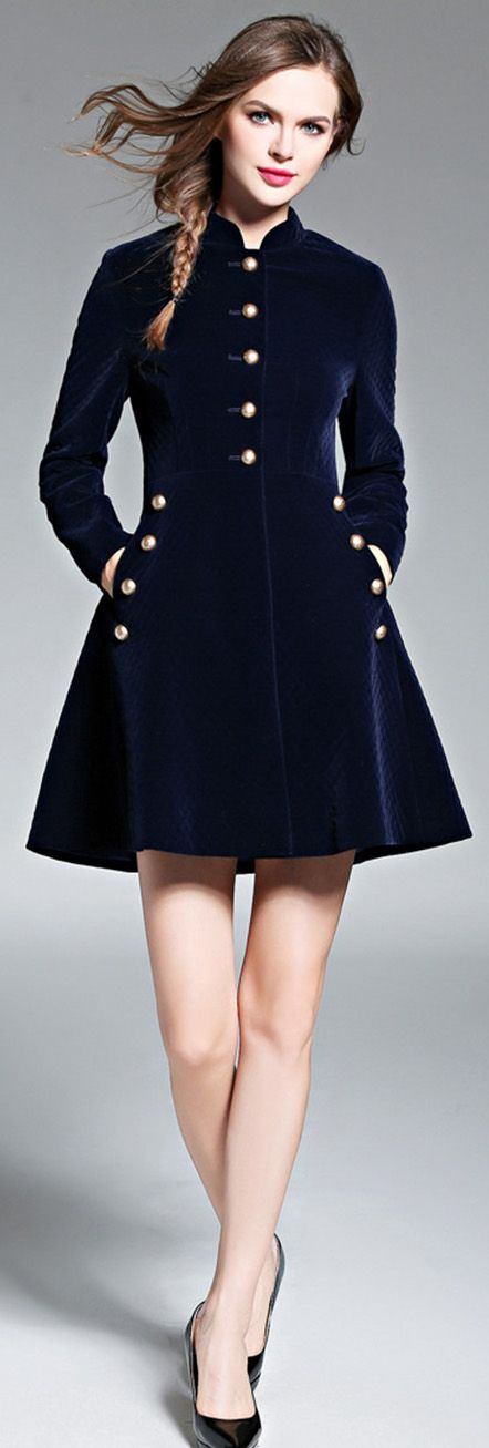 Navy Blue Band Collar A-line Coat