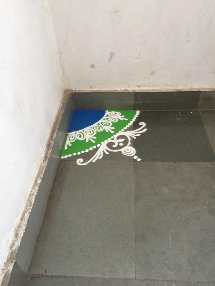 Random Rangoli in the corner of the office building. #Rangoli, also known as…