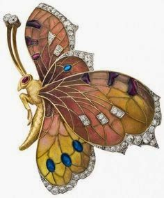 Art Nouveau butterfly brooch ~ Gold set with diamonds and rubies ~ Rozert and Fischmeister, 1910, Vienna ~ by C. Dillon, Leopold Museum, Vienna.
