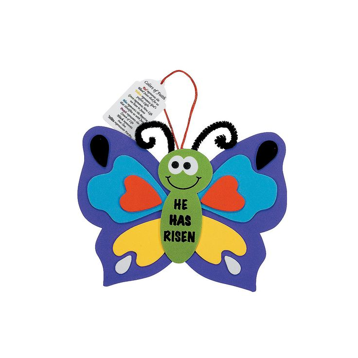 He Has Risen Colors of Faith Butterfly Craft Kit - OrientalTrading.com