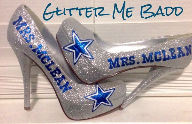 Dallas Cowboys Wedding Heels for a bride by Glitter Me Badd #DALLAS #COWBOYS #DALLASCOWBOYS