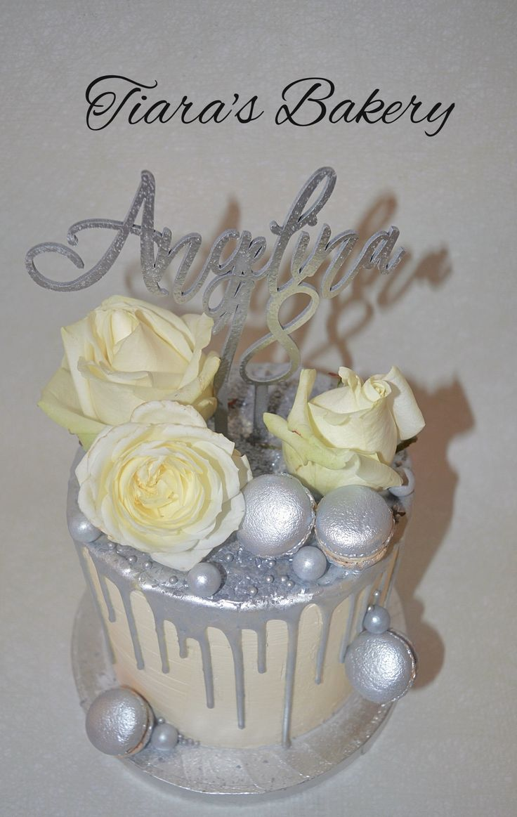 Silver Drip Cake with real Flowers by Tiara's Bakery Switzerland