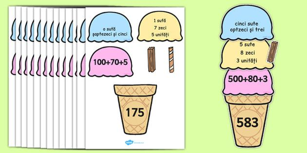 * NEW * Place Value Ice Cream Cone Matching Activity Hundreds Tens and Ones Romanian