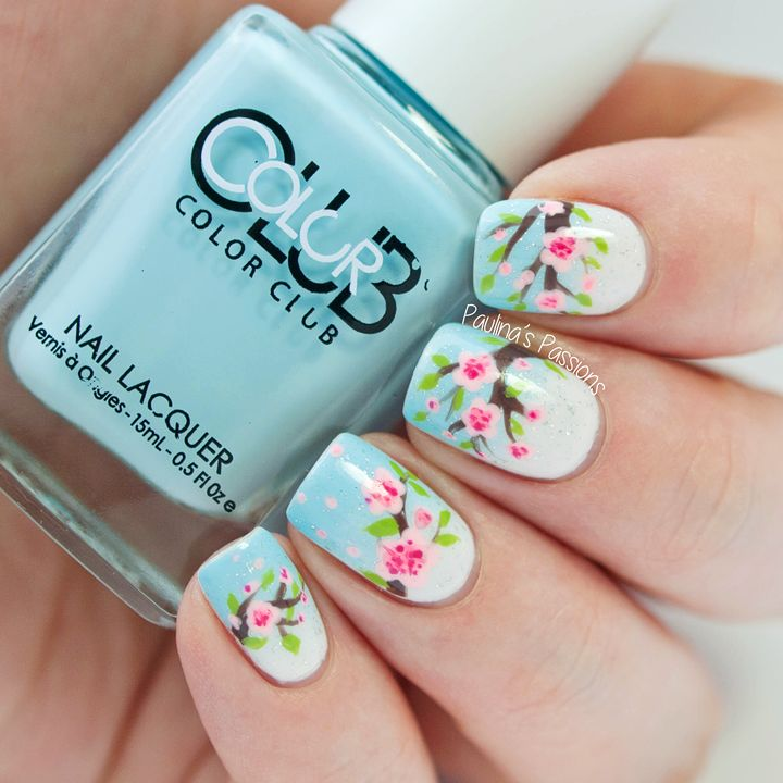 Spring Nails - Cherry Blossom Nails ~ gradient base with Essie 'Fiji' and Color Club 'Take Me to Your Chateau' and sparkles using El Corazon Art top coat 421 ~ blossoms worked with one brown, one green, and two pink polishes ~ by Paulina's Passions