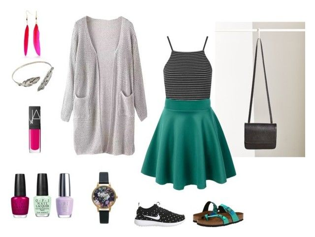 Lovely Look - Grey Black and Green by annavaschetto on Polyvore featuring polyvore, mode, style, Topshop, NIKE, Birkenstock, Silence + Noise, Red Camel, Olivia Burton, NARS Cosmetics and OPI
