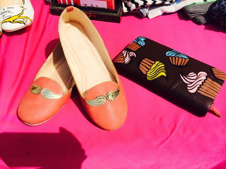 Metallic moustache peach ballerina  Handpainted shoes , unique, artsy, quirky ballerina by www.zubiya.com
