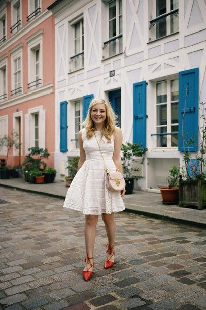 """nice Idée Tenue """"Day to night"""" : : rach martino blogger white dress date outfit cute outfits strappy flats blonde..."""