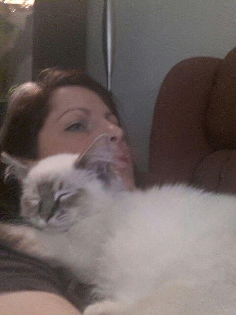 Snuggled up to ma