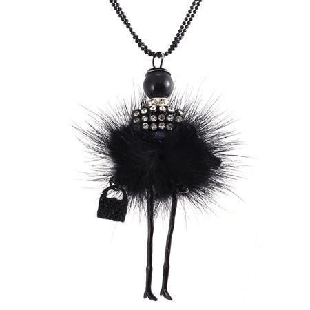 Crystal Doll Long Chain Vintage Feather Necklaces