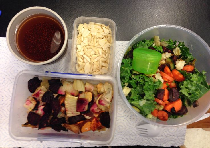 Lunch   -1tbsp chia seeds  in peppermint / rose and hibiscus tea -2oz flaked/ diced almonds -6oz baked fennel beetroot and parsnip     -6oz Kale, spinach, rocket, purple carrot, carrot, artichokes, cucumber, black garlic and avocado    -3oz sweet potato, brown rice    -1 tbsp almond oil        -1 tbsp apple cider vinegar