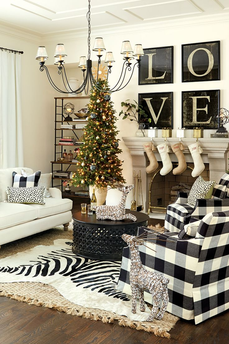 Fancy chairs fancy cardboard chairson home interior design ideas with - Black And White Living Room Decorated For The Holidays