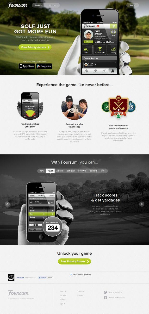 Foursum Golf - Unlock YOUR Game - Webdesign inspiration www.niceoneilike.com