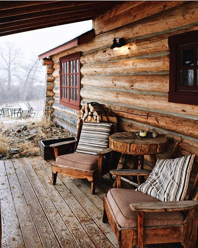 Wood cabin, wood deck, wood chairs.  #getoutdoors #upknorth A rustic luxury. Montana living captured by @bethkellmer