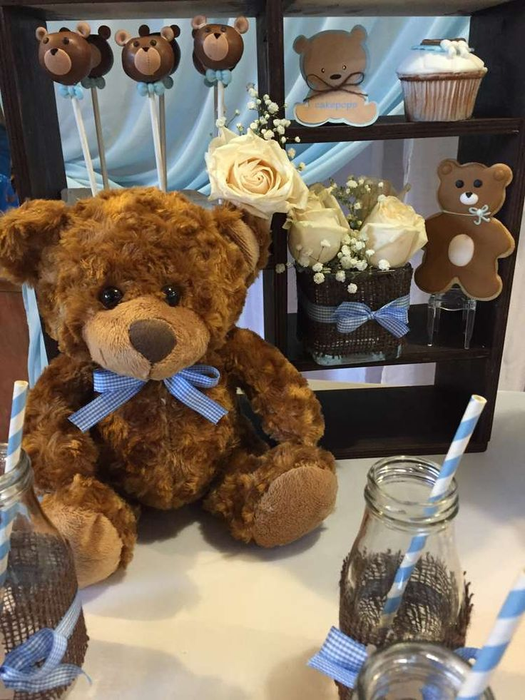 Teddy bear baby shower  party decorations! See more party ideas at CatchMyParty.com!