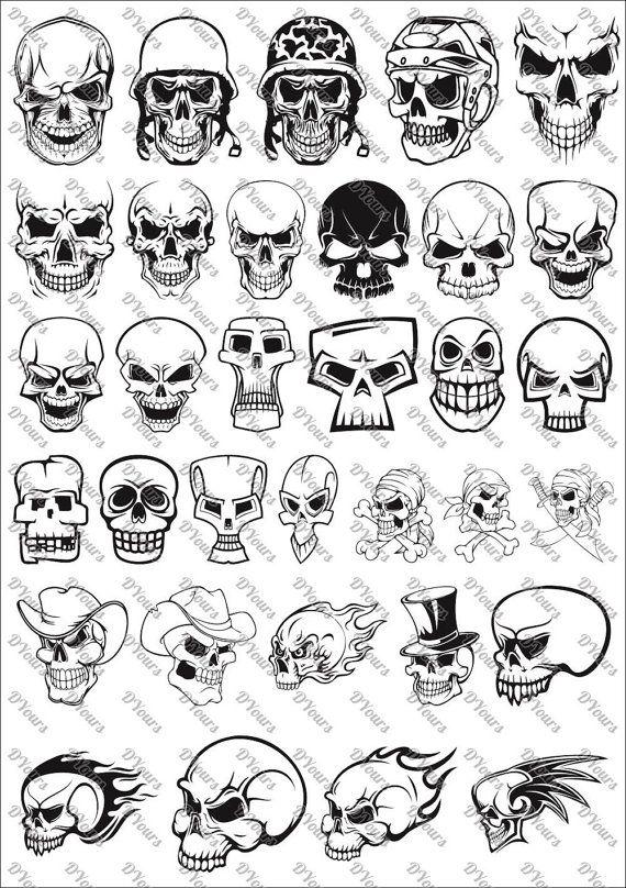 Skulls Vector Clipart vol.3 – 33 Vector Models – svg cdr ai pdf files Instant Download Files for Pri