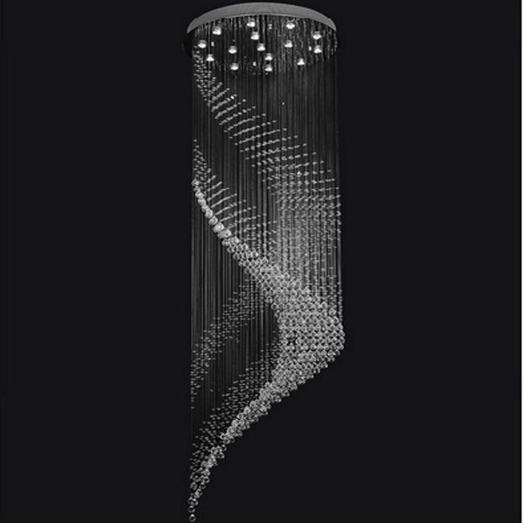 Новый дизайн спирали большая хрустальная люстра освещение блеск высоким потолком люстра AC110-240V современная лестница люстра(China (Mainland))