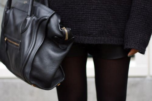 : Sweater, Black Bags, Fashion, Street Style, Outfit, Accessories, Black Leather Bags