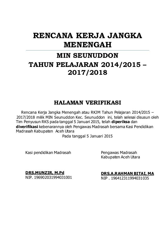 Rencana Kerja Jangka Menengah Min Seunuddon Tahun Pelajaran 2014 2015 2017 2018 Halaman Verifikasi Rencana Kerja Jangka Tanggal Jangka