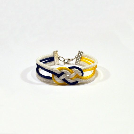University of Michigan Wolverines themed double infinity knot nautical rope bracelet