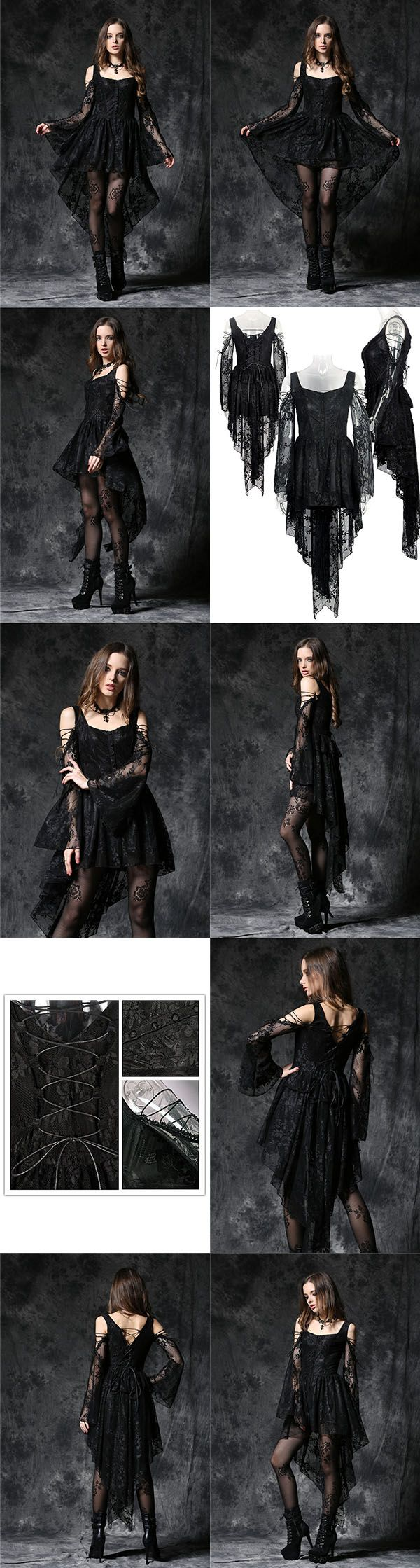 Dark In Love Gothic Ghost Dovetail Lace Dress with Button Front Detail.   This is a stunning black lace gothic mini dress which has a row of black lace covered buttons down the front and long black train at the back. There are shoulder cut outs at the top of the flared sleeves which are laced with black cord. The back of the dress also has corset style cord lacing. A stunning dress for any gothic wardrobe
