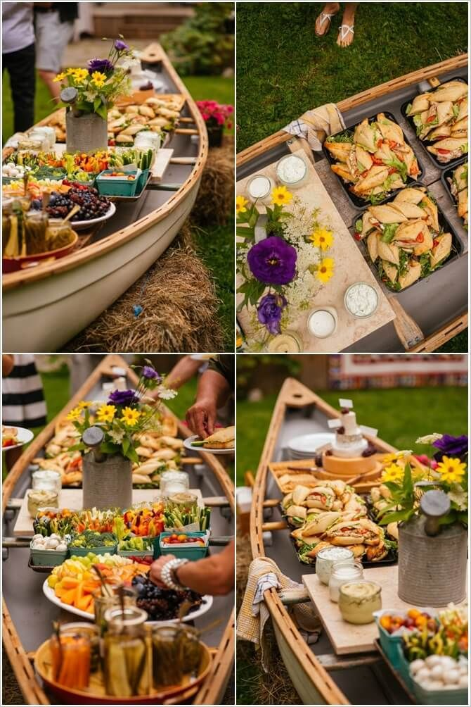 Rethink A Canoe In Place Of A Party Table For An Outdoor