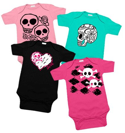 Girls Skulls 4 One Piece Set - I think I know what i'm buying for the shower! hehehe!