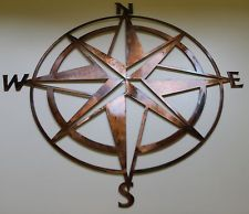 Nautical COMPASS ROSE WALL ART DECOR copper/bronze plated Would look great on wall near floor stand globe & with copper colored table top.